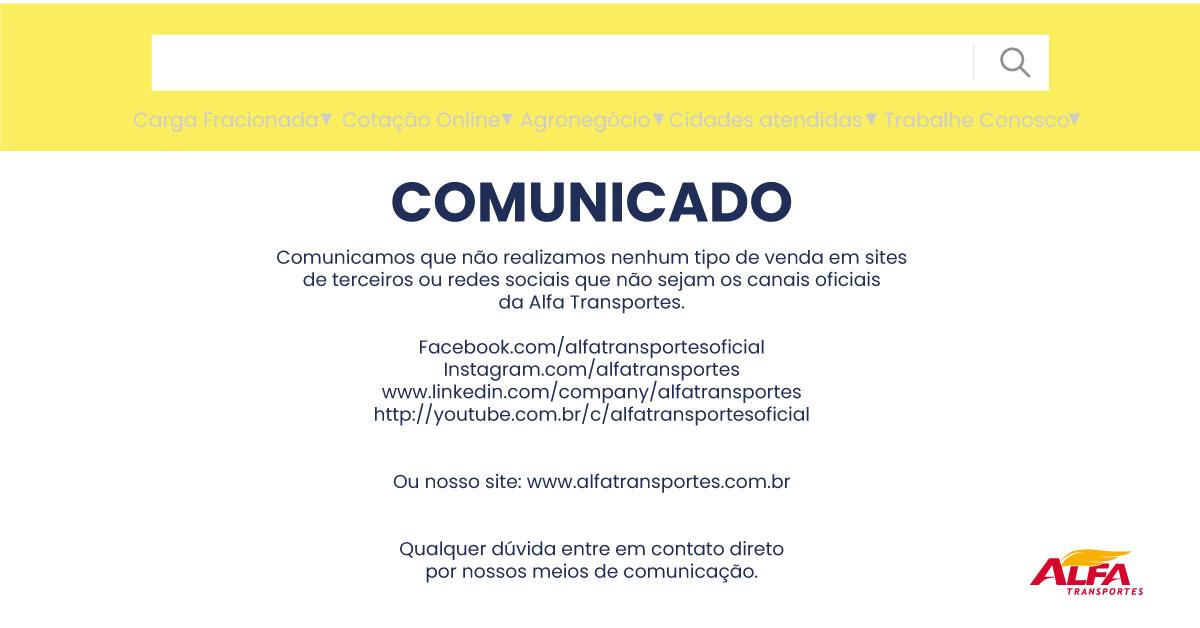 Comunicado-mercado-livre-blog alfa transportes