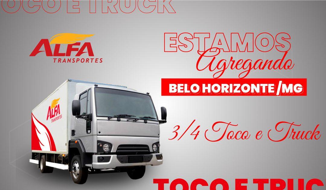 Estamos agregando 3/4, toco e truck em Belo Horizonte/MG