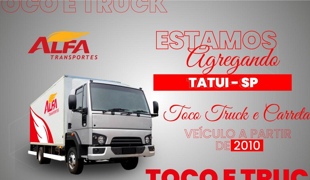 Estamos agregando Toco, Truck e Carreta em Tatui – SP