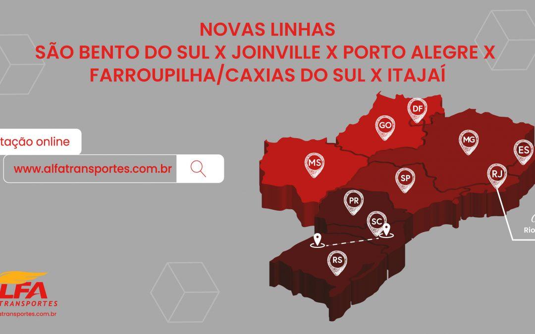 Nova rota São Bento do Sul x Joinville x Porto Alegre x Farroupilha/Caxias x Itajaí.